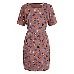 Yumi - Brown Telephone Print Tea Dress