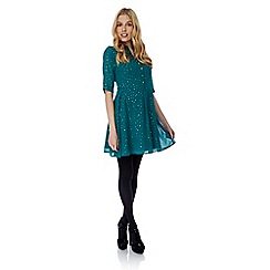 Yumi - Green gold polka dot print tea dress