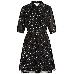Yumi - Black gold polka dot print tea dress