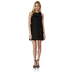 Yumi - Black gold spot swing dress