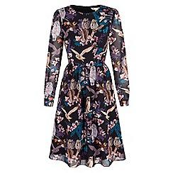 Yumi - Black owl and flower print midi dress