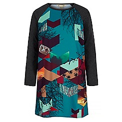 Yumi - Blue owl digital print tunic dress