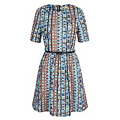 Yumi - Multicoloured building block print day dress
