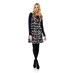 Yumi - Multicoloured geo print knitted long sleeve dress