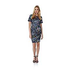 Yumi - Multicoloured Crystal Print Fitted Scuba Dress