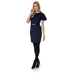 Yumi - Blue gold fleck fluted sleeve dress
