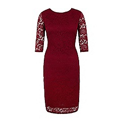 Yumi - Red lace fitted occasion dress