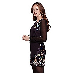 Yumi - Black Embroidered Long Sleeve Tunic Dress