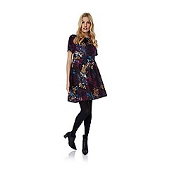 Yumi - Black Distressed Floral Print Dress