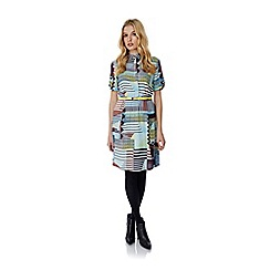 Yumi - Multicoloured Contrast Stripe Shirt Dress