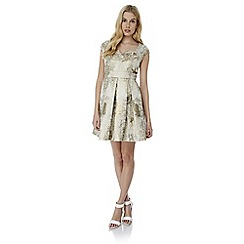 Yumi - Ivory metallic jacquard party dress