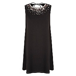 Yumi - Black Embellished Cut Out Shift Dress