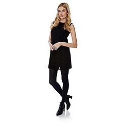 Yumi - Black lace stripe shift dress