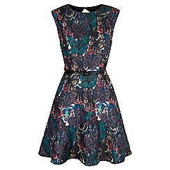 Yumi - Multicoloured  butterfly print jacquard dress
