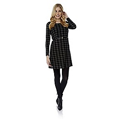 Yumi - Black long sleeve check dress