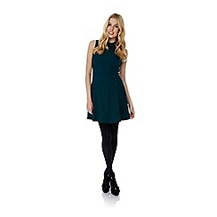 Yumi - Green Jacquard High Collar Skater Dress