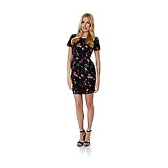 Yumi - Black Floral Print Fitted Dress