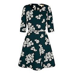 Yumi - Green Monochrome Floral Long Sleeved Dress