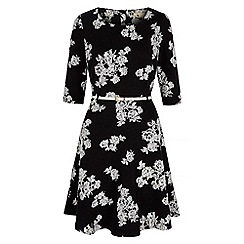 Yumi - Black monochrome floral long sleeved dress