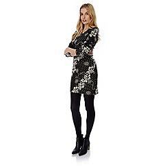 Yumi - Black polka dot floral print bodycon dress