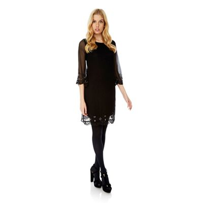 Yumi Black embellished shift dress