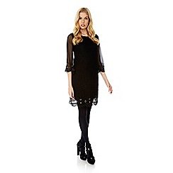 Yumi - Black embellished shift dress