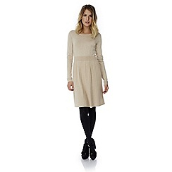 Yumi - Cream pleated knitted jumper dress