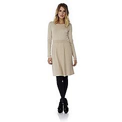 Yumi - Cream pleated knitted jumper dress