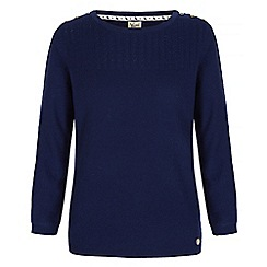 Yumi - Blue pointelle jumper with button shoulders