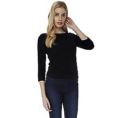 Yumi - Black pointelle jumper with button shoulders