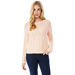 Yumi - Pink cable knit jumper