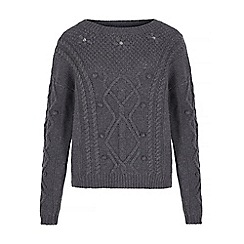 Yumi - Grey cable knit jumper