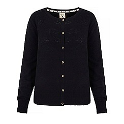 Yumi - Black pointelle bird cardigan