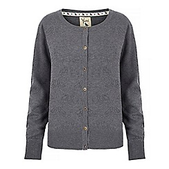 Yumi - Grey pointelle bird cardigan