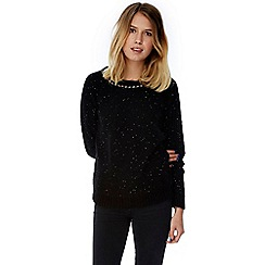Yumi - Black chunky knit gold chain embellished jumper