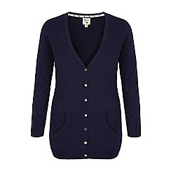 Yumi - Blue long pointelle cardigan