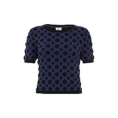 Yumi - Blue Polka Dot Cropped Jumper