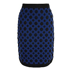 Yumi - Blue Polka Dot Knitted Skirt