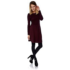Yumi - Purple rib knit jumper dress