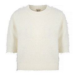 Yumi - Cream fluffy knit cropped jumper