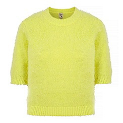 Yumi - Green fluffy knit cropped jumper