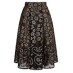 Yumi - Black gold floral print midi skirt