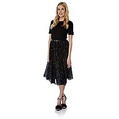 Yumi - Black gold spot pleated midi skirt