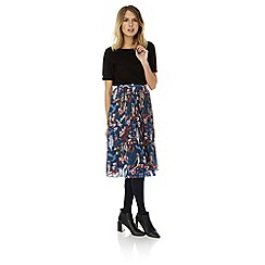 Yumi - Black floral owl print pleated midi skirt