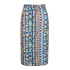 Yumi - Multicoloured Building Block Print Pencil Skirt