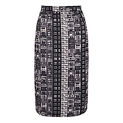 Yumi - Grey building block print pencil skirt