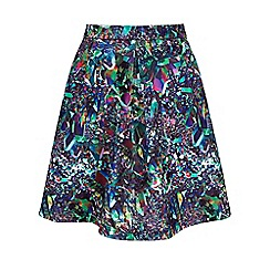 Yumi - Multicoloured Crystal Print Scuba Skater Skirt