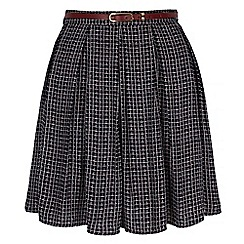 Yumi - Blue Check Print Skater Skirt