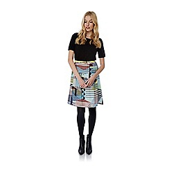 Yumi - Multicoloured Stripe Geo Print A-Line Skirt