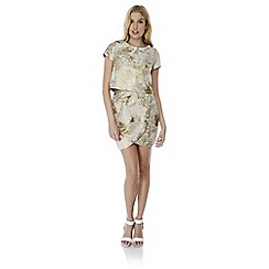 Yumi - Ivory metallic jacquard tulip skirt